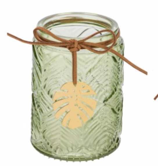 Deko Glas-Teelichthalter Blatt oliv