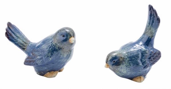 Deko Keramikvögel blau 2er Set