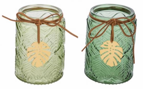 Deko Glas-Teelichthalter Blatt 2er Set