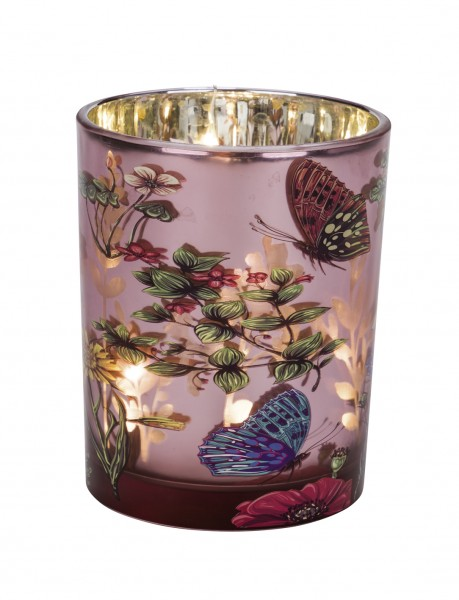 Deko Glas-Teelichthalter Blumenwiese rosa metallic
