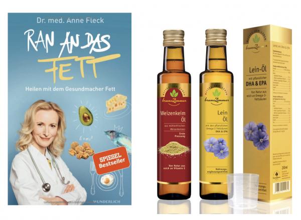 "Buch+Öl AKTIONS-SET: ""Ran an das Fett"" + Weizenkeimöl + Leinöl mit DHA"