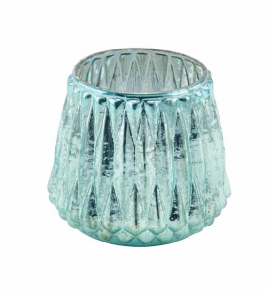 Deko Glas-Teelichthalter türkis schillernd 11x11cm