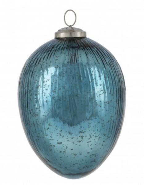 Deko Glas-Ei hängend blau