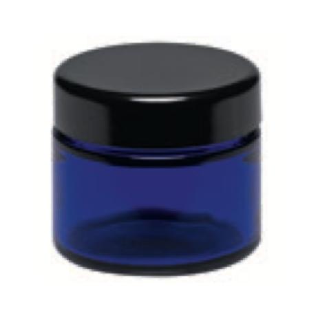 Salbentöpfchen Blauglas Deckel schwarz 50ml