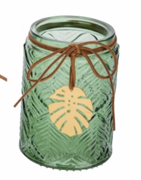 Deko Glas-Teelichthalter Blatt dunkelgrün